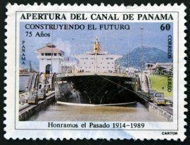 11438969-PANAM-CIRCA-1989-Un-sello-impreso-en-Panam-dedicada-a-la-apertura-del-Canal-de-Panam-alrededor-del-a-Foto-de-archivo