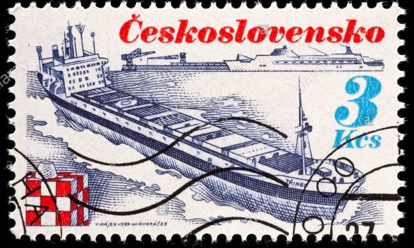 sello-de-checoslovaquia-representando-el-carguero-trinec-dtmryy